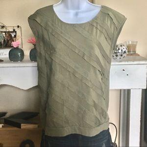 Ann Taylor LOFT Khaki/Army Green Sleeveless Blouse